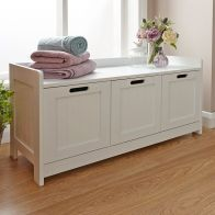 Colonial White 3 Door Storage Bench