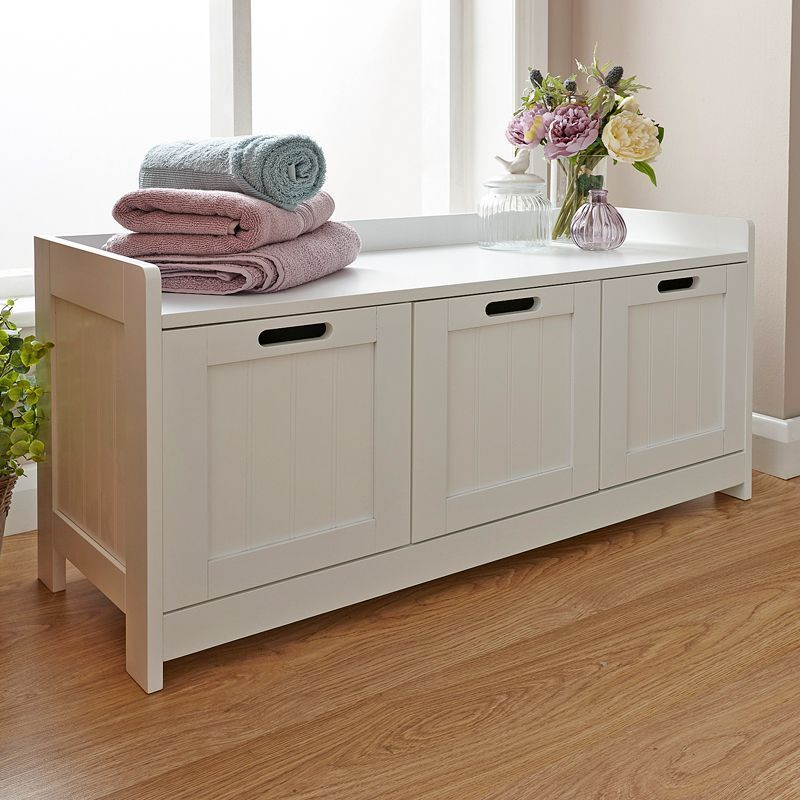 Colonial Storage Bench White 3 Drawer, White Bathroom Bench With Storage