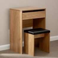 See more information about the Compact Oak Finish Dressing Table & Stool Set