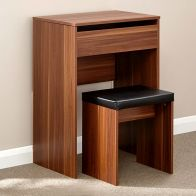 See more information about the Compact Walnut Finish Dressing Table  & Stool Set