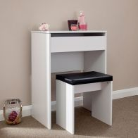See more information about the Compact White Dressing Table & Stool Set