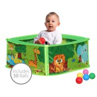 Baby Safari Pop Up Play Pen Ball Pit Pool Including 50 Balls