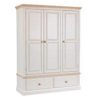See more information about the Country Cottage Wardrobe Cream & Oak 3 Door 2 Drawer