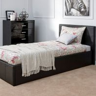Black Faux Leather End Lift Ottoman Single 3ft Bed Frame