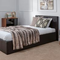 See more information about the Winston End Lift Single Ottoman Bed Brown Faux Leather