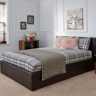 See more information about the Faux Leather King Size Bed 5ft Brown Ottoman Bed Frame