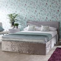 See more information about the Crushed Velvet Grey End Lift Ottoman King Size 5ft Bed Frame