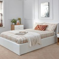 See more information about the Faux Leather King Size Bed 5ft White Ottoman Bed Frame
