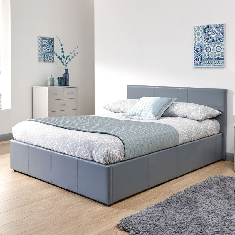 Prime Buy Winston End Lift King Size Ottoman Bed Grey Faux Leather Machost Co Dining Chair Design Ideas Machostcouk