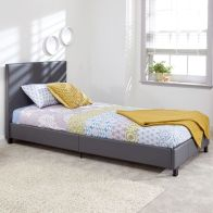 See more information about the Bugi Single Bed In A Box Grey Faux Leather