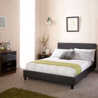 See more information about the Bed In A Box Black Faux Leather Kingsize 5ft Bedstead