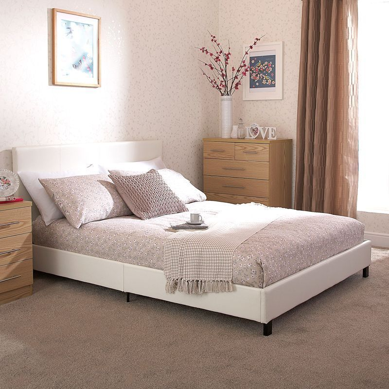 Buy Bed In A Box White Faux Leather Single 3ft Bedstead Online At