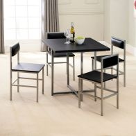 See more information about the Compact 4 Seater Dining Set Black & Silver With 4 Chairs