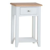 See more information about the Ava Oak 1 Door 1 Drawer Telephone Side Table White