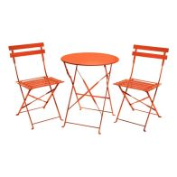 See more information about the Metal 3 Piece Garden Patio Furniture Table with 2 Chairs Coral