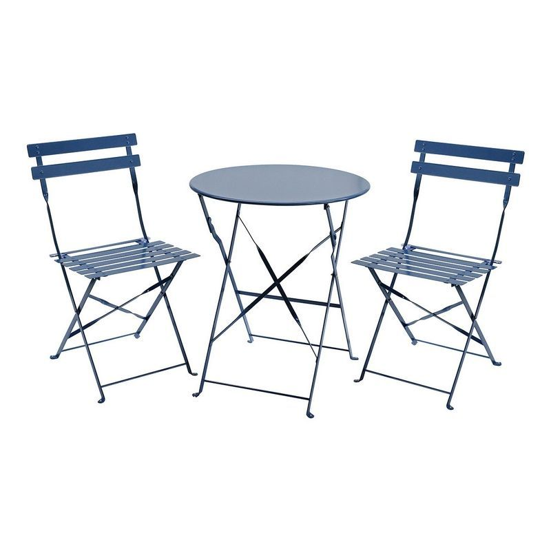 Buy Metal 3 Piece Garden Patio Furniture Table with 2 ...