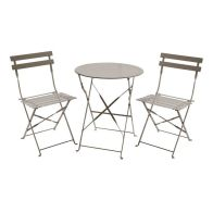 See more information about the Metal 3 Piece Garden Patio Furniture Table with 2 Chairs Taupe