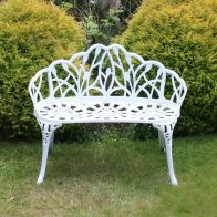 See more information about the Tulip Cast Aluminium Metal 2 Seater Garden Bench Seat White
