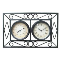 See more information about the Ornate Metal Wall Mount Garden Wall Clock & Thermometer - Black