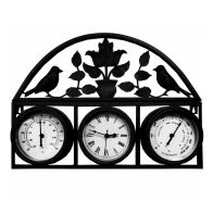See more information about the Shabby Chic Garden Wall Clock with Thermometer & Hygrometer Dark Grey