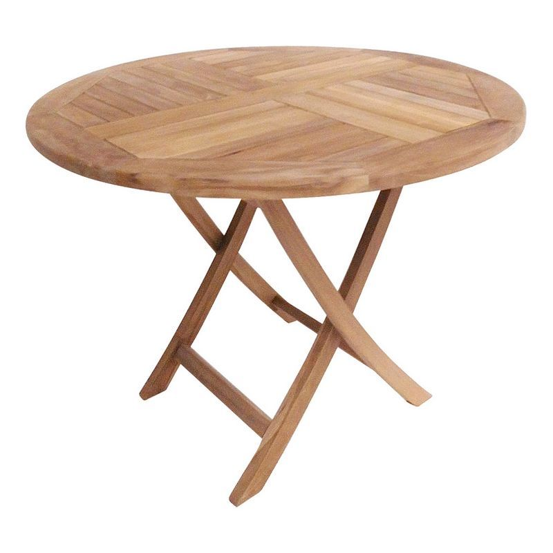 Solid Wooden Round Folding 2 4, Round Wooden Table For Garden