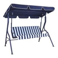 See more information about the 2 Seater Garden Patio Swing Seat Hammock Chair - Blue Striped