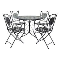 See more information about the Mosaic 5 Piece Garden Dining Furniture Set with Folding Chairs Blue