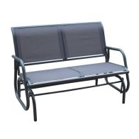 2 Seater Glider Rocking Garden Patio Bench With Mesh Seat - Grey