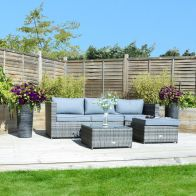 See more information about the Rattan L-Shaped 3 Seater Garden Lounge Furniture Set Grey