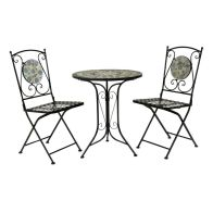See more information about the Mosaic Wrought Iron 3 Piece Garden Table Furniture Set with 2 Chairs