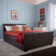 See more information about the Hannover Brown Faux Leather 4 Drawer Storage Kingsize 5ft Bedstead