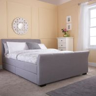 See more information about the Hannover Grey Fabric 4 Drawer Storage Kingsize 5ft Bedstead