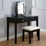 See more information about the Hattie Dressing Table Black 2 Drawer With Stool