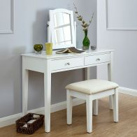 See more information about the Hattie Dressing Table White 2 Drawer With Stool
