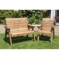 See more information about the Charles Taylor 3 Seat Set Angled Garden Bench - Green Cushion
