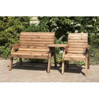 See more information about the Charles Taylor 3 Seat Set Straight Garden Bench - Burgundy Cushion