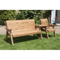See more information about the Charles Taylor 4 Seat Set Straight Garden Bench - Green Cushion