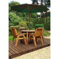 See more information about the Charles Taylor 4 Seat Round Garden Table Set With Green Parasol & Base