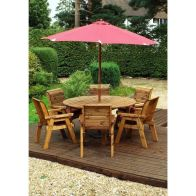 See more information about the Charles Taylor 6 Seat Circular Garden Set - Burgundy Parasol & Base