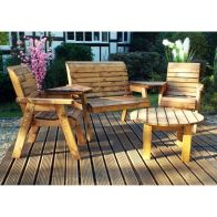See more information about the Charles Taylor 4 Seat Round Garden Set With Burgundy Cushion