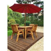 See more information about the Charles Taylor 4 Seat Rectangular Garden Set - Burgundy Parasol & Base