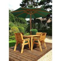 See more information about the Charles Taylor 4 Seat Rectangular Garden Set - Green Parasol & Base