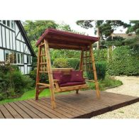 See more information about the Charles Taylor Dorset 2 Seat Garden Swing With Burgundy Cushion