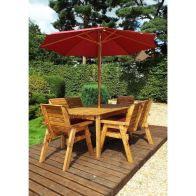 See more information about the Charles Taylor 6 Seat Garden Table Set With Burgundy Parasol & Base