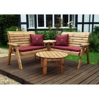 See more information about the Charles Taylor 4 Seat Corner Garden Set With Burgundy Cushion