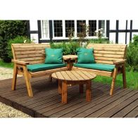 See more information about the Charles Taylor 4 Seat Corner Garden Set With Green Cushion