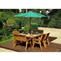See more information about the Charles Taylor 8 Seat Square Garden Table Set - Green Parasol & Base