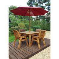 See more information about the Charles Taylor 4 Seat Square Garden Set - Burgundy Parasol & Base