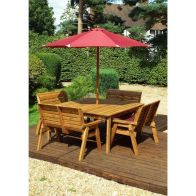 See more information about the Charles Taylor 8 Seat Square Garden Set - Burgundy Parasol & Base