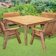 8 Seat Deluxe Scandinavian Redwood Square Bench Garden Furniture